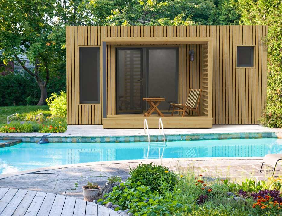 Edencube Pool house devant piscine