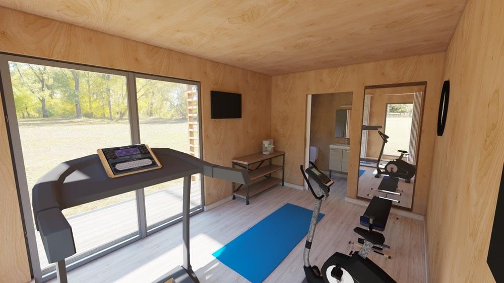 Vue intérieure studio de jardin salle de sport
