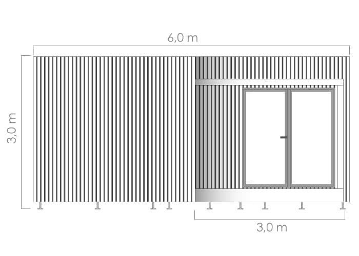 Dimensions studio Edencube 30m2 vue de face