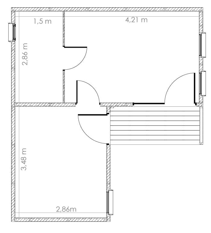 Dimensions intérieures EdenCube 30m2