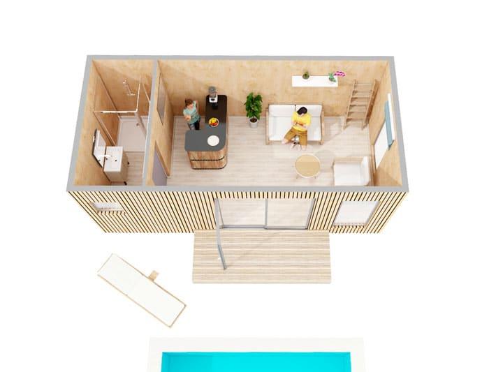 Vue d'ensemble Pool House EdenCube 20m2