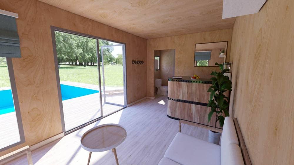 Pool house EdenCube vue intérieur
