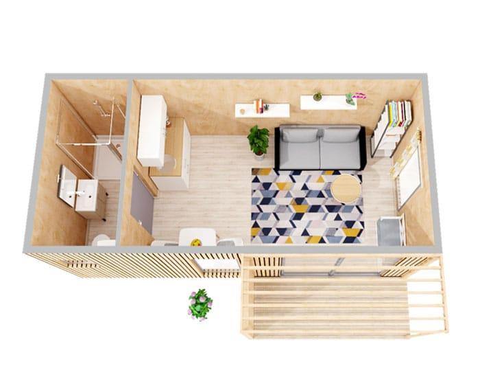 Aménagement intérieur studio de jardin 20m2