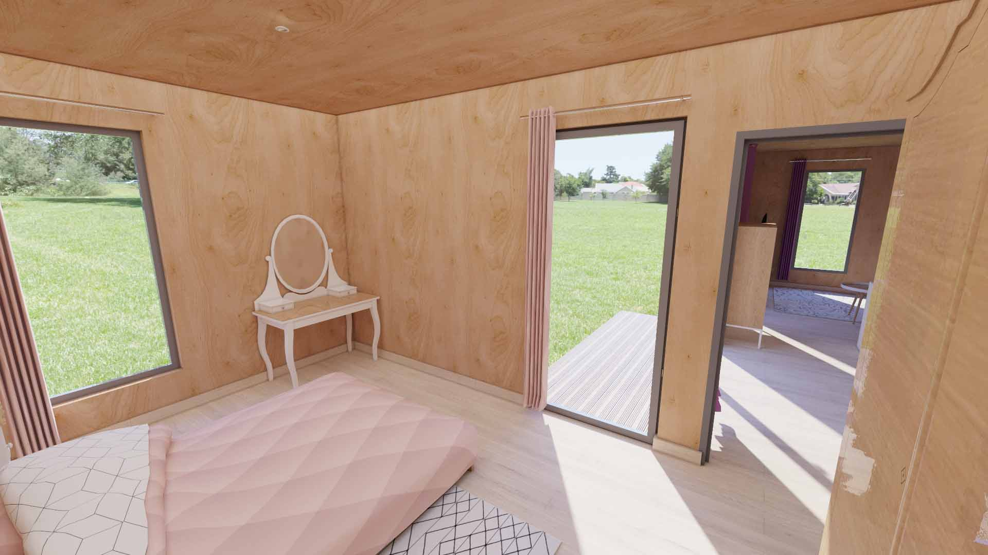 Chambre d'un studio de jardin EdenCube