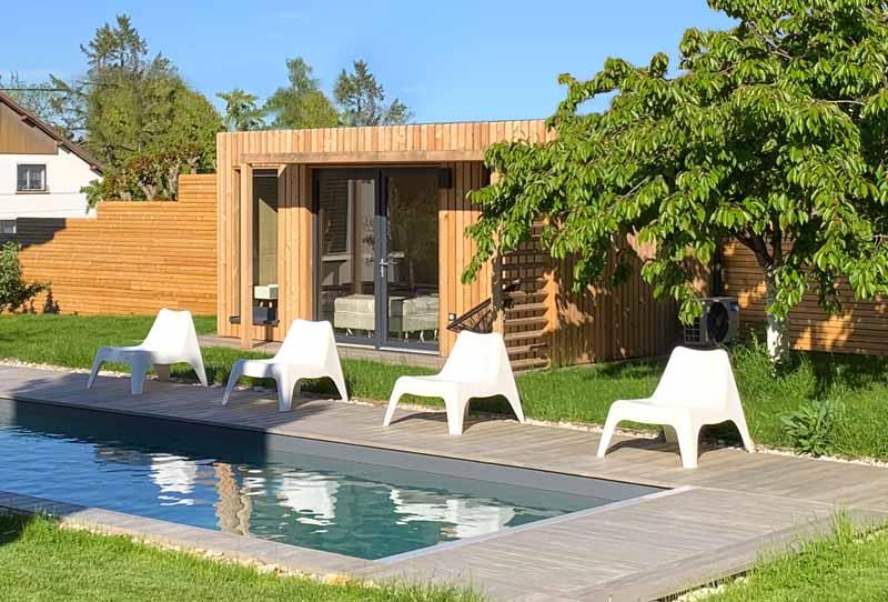 Pool house en bois de 15m2